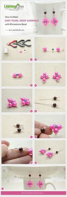 Jewelry Making Tutorial-How to Make Easy Pearl Drop Earrings with Rhinestone Beads | PandaHall Beads Jewelry Blog