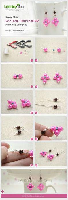 Jewelry Making Tutorial-How to Make Easy Pearl Drop Earrings with Rhinestone Beads | PandaHall Beads Jewelry Blog