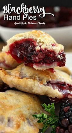 These blackberry hand pies are the perfect snack. Each hand pie has a flaky crust are stuffed full with a fresh blackberry sauce which is to die for then baked to perfection. Blackberry Pie Recipes, Blackberry Sauce, Blackberry Dessert, Blackberry Ideas, Blackberry Cobbler, Hand Pies, Köstliche Desserts, Dessert Recipes, Plated Desserts