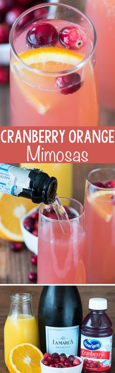 Cranberry Orange Mimosa - this easy 3 ingredient cocktail recipe is perfect for brunch or even as a bellini at a cocktail party! #cocktailrecipes