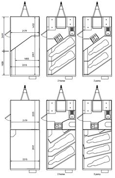 Eventa Horse trailer Layout. Shows the Eventa L and Eventa M possible layouts and dimensions.