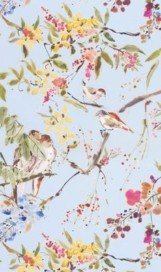 Penglai Fabric A delightful curtain fabric featuring an informal design of birds nestling amongst blossoming branches. Printed in a watercolour style in mocha, sage and fuchsia on a powder blue ground.