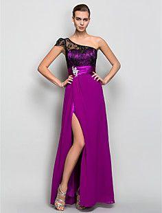 A-line One Shoulder Floor-length Georgette Evening Dress