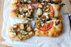 Summer vegetable pizza- substitute home made pizza dough and leave off meat- so good!