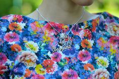 Silver monogram necklace with a birthstone on summer floral dress Monogram Necklace, Name Necklace, Neon Sandals, Giant Vintage, Floral Tops, Floral Prints, Birthstones, Outfit Of The Day, Bridesmaid Dresses