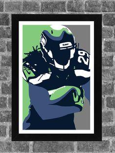 Seattle Seahawks Earl Thomas Portrait Sports Print Art 11x17
