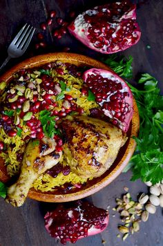 Persian Honey Glazed Chicken and Jeweled Rice This colorful Iranian dish is full of unique flavors! Iranian Dishes, Iranian Cuisine, Iranian Food, Healthy Chicken Recipes, Cooking Recipes, Persian Chicken, Persian Rice, Cooking With Turmeric, Honey Glazed Chicken