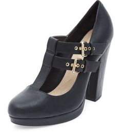 Black Comfort Double T-Bar Strap Platform Block Heels