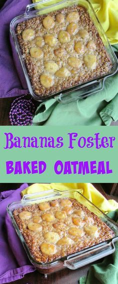 The perfect way to start off Mardi Gras! This Bananas Foster Baked Oatmeal has all of those delicious caramelized banana flavors in a hearty breakfast dish! #SundaySupper