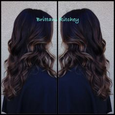 Rich brown brunette with Carmel highlights
