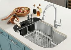 The Blanco One collection consists of three different kitchen sink sizes and an assortment of custom-designed accessories like a cutting board or workstation with utensil storage. Kitchen Sink Sizes, Blanco Kitchen Sinks, Kitchen And Bath, New Kitchen, Kitchen Appliances, Kitchens, Kitchen Countertops, Cabin Interior Design, Luxury Homes Interior