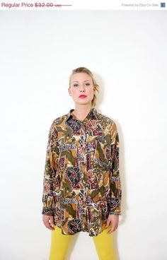 30 off SALE Vintage 80s Slouchy Silk Blouse Mixed by BoBoVintage