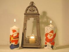 Decora cirios y velas - Tutéate Decoupage, Candle Sconces, Pillar Candles, Candle Holders, Wall Lights, Christmas Ornaments, Lighting, Crafts, Home Decor
