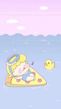 Float in the sea Pastel Iphone Wallpaper, Bear Wallpaper, Iphone Background Wallpaper, Kawaii Wallpaper, Disney Wallpaper, Kawaii Chibi, Anime Kawaii, Cute Cartoon Wallpapers, Movie Wallpapers