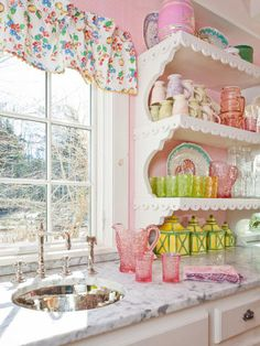 Happy colors for this cottage inspired kitchen. Let's make some gingerbread cookies!