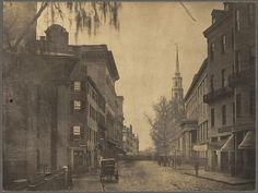 Tremont Street in 1860  -- Tremont Street looking south from School Street and King's Chapel. Park Street Church is to the right. Boston Public Library