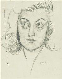 Domenico Gnoli (Italy 1933-1970), Ritratto della sorella, pencil/paper. Sold at auction.