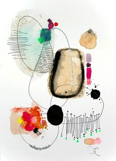 Contemporary Modern Art - an Original Abstract Painting on watercolor paper   Victoria's Atelier