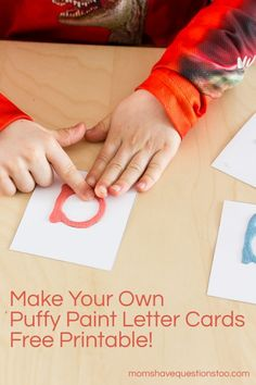 Puffy Paint Letter Cards, Replace Montessori Sandpaper Letters -- Moms Have Questions Too, great DIY for letter recognition and letter formation practice #finishedfriday