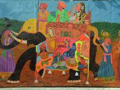 Artwork welcoming visitors at the Jaipur Literature Festival 2014, Jaipur, Rajasthan, India