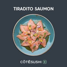 TIRADITO SAUMON : Saumon mariné, oignon nouveau, oignon rouge, jalapenos, sauce yuzu truffe + 1 riz