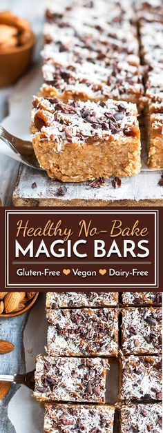 A healthy, gluten-free and vegan recipe for no bake magic bars that is full of nuts, coconut, cacao nibs and natural sweeteners.