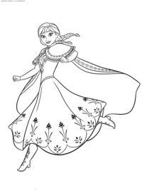 Принцесса Дисней Анна - скачать и распечатать раскраску. Раскраска Раскраски принцессы Дисней распечатать, раскраски принцесса Анна, раскраски Холодное сердце