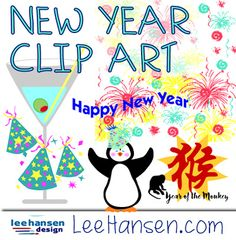 Original New Year Clip Art, Word Art and Border Graphics Happy New Year Banner, Party Hats, Word Art, Scrapbooks, Art Images, Fireworks, Party Invitations, Web Design, Clip Art