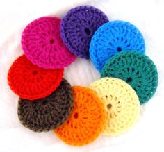 Nylon Pot Scrubbies   Set of 8  Rainbow Collection by ArtistBeeBee, $16.00