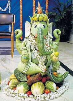This Ganesha can help overcome all obstacles! Jai Ganesh, Ganesh Statue, Shree Ganesh, Eco Friendly Ganesha, Ganesh Chaturthi Decoration, Ganapati Decoration, Lord Ganesha Paintings, Bal Krishna, Fruit And Vegetable Carving