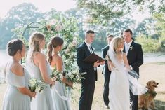 Blue bridesmaids dresses, Jenny Yoo bridesmaids, morning mist, waterfront wedding, dog in wedding