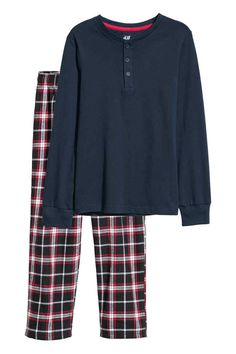 Pyjamas with a jersey Henley top and flannel bottoms. Top with a button placket and long sleeves with ribbed cuffs. Bottoms with an elasticated drawstring w Henley Top, Pyjamas, Drawstring Waist, Flannel, Dark Blue, Plaid, Blouse, Long Sleeve, Jackets
