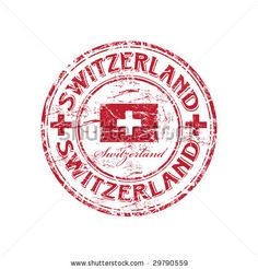 stock vector : Red grunge rubber stamp with the flag of Switzerland