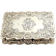 Antique Victorian Sterling Silver Snuff Box 1882