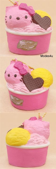 Kawaii Sanrio Hello Kitty strawberry and lemon ice cream with a chocolate wafer heart squishy! Diy Crafts Slime, Diy And Crafts, Silly Squishies, Balle Anti Stress, Lemon Ice Cream, Hello Kitty Wallpaper, Kawaii Shop, Sanrio Hello Kitty, How To Make Paper
