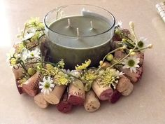 Summer inspired Wine Cork Candle/Bottle ring...Garden Green and Yellow Candle Ring