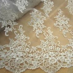 Vintage White Corded Bridal Lace Fabric 51  Wide Embroidery Lace Fabric 1 2 Yard | eBay
