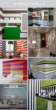 Striped walls by cventress Painting Stripes On Walls, Room Wall Painting, Room Paint, Wall Stripes, Painted Stripes, Green Stripes, Striped Room, Striped Walls, Home Interior