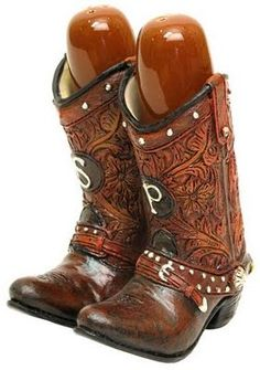 """Cowboy Boots Salt and Pepper Set: These cute Cowboy Boots Salt and Pepper Shakers measure 4.5"""" x 2.75"""" x 3.5"""" and shakers measure 1.75"""" x 1"""" each"""