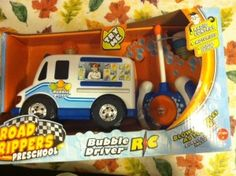 New from Road Rippers, the industry's leading maker of action packed lights and sounds cars and trucks comes the Road Rippers Preschool Bubble Driver Ice Cream Truck. It's bubble blowing fun. Use the easy to operate controller to drive the ice cream truck forward and watch it blow bubbles, bubbles bubbles. Or just push the buttons for traditional motorized lights and sounds play and of course, bubbles. The light up ice cream cone spins and plays classic ice cream truck music. Bubble solution…