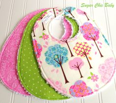 Baby Bibs for Baby Girl -  Set of 3 Triple Layer Chenille -  Pretty Little Things Trees, Apple Green Dots & Pink Paisley. $25.50, via Etsy.