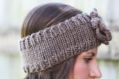 Headband - Large Flower, Tan, Brown, Khaki, Knitted , Crochet, Knit ,infinity, Wide Headband, Turban, Christmas Gift Ask a Question    $26.00 USD