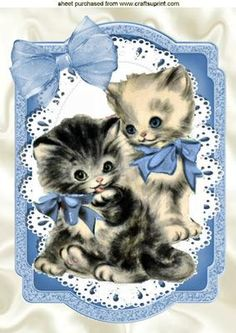 Vintage kittens with blue bow on lace A4 on Craftsuprint - Add To Basket!