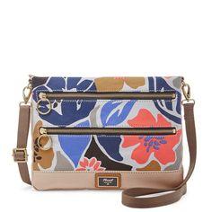 Fossil Passport Blue Floral Top Zip Cotton Canvas Crossbody/Shoulder Bag #Doris_Daily_Deals #Bonanza http://www.bonanza.com/listings/311519244
