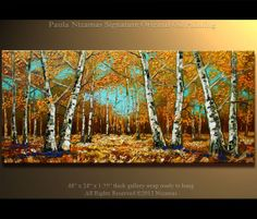 "Original Birch Oil Painting Modern Oil Painting Birch Trees in Autumn Palette Knife Landscape from Nizamas 48"" x 24"""