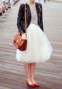Mi-longue jupe plissé taille élastique tutu en tulle élégant femme blanc