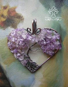 Amethyst Heart Tree of Life Wire Wrapped Pendant Jewelry Valentine's Day