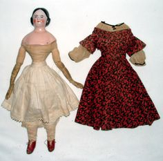 """1860s Covered Wagon Style China Head Doll 16"""" w Cloth Body Leather Arms Dress 
