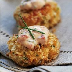 **Panko-crusted Crab Cake Bites with Roasted Pepper-Chive Aioli  (Yes Please!)