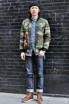 NYC street style: Max (26 - Student) wears Jacket by Supreme, Shirt by Apc shirt, Pants by Apc, Handkerchief by Neighborhood